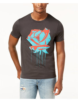 Men's Rose Drip Graphic Print T Shirt by Guess
