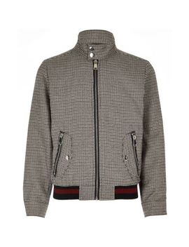 Boys Brown Check Harrington Jacket by River Island