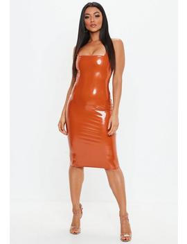 Rust Orange Vinyl Skinny Midi Dress by Missguided