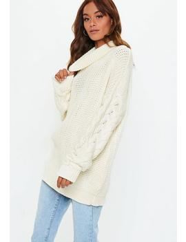 Cream Roll Neck Cable Longline Jumper by Missguided