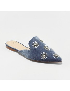 Women's Osmo Velvet Embellished Backless Mules   A New Day™ Blue by A New Day™