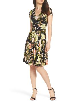Floral Print Pleat Skirt Dress by Maggy London