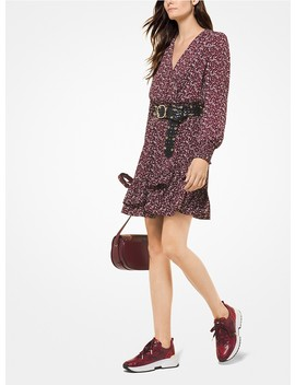Leaf Print Ruffled Crepe Dress by Michael Michael Kors