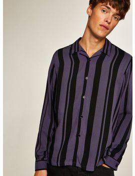 Lilac And Black Stripe Long Sleeve Shirt by Topman