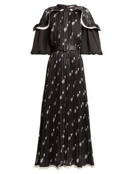 Arrow Print Pleated Crepe Midi Dress by Self Portrait