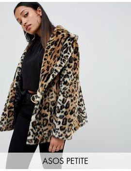 Asos Design Petite Animal Faux Fur Coat by Asos Design