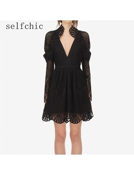 Self Portrait Black Dress Runway 2018 Autumn Women Knitted Sexy Long Sleeve Short Dresses by Selfchic