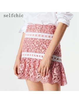Office Women High Waist Lace Skirt Pink Runway Mini Skirts Jupe Dentelle Femme 2018 by Selfchic