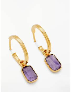 John Lewis & Partners Semi Precious Stone Hoop Earrings, Amethyst by John Lewis & Partners