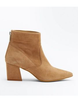 Light Brown Premium Suede Pointed Ankle Boots by New Look