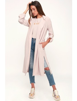 Kathryn Blush Pink Three Quarter Sleeve Trench Coat by Lush