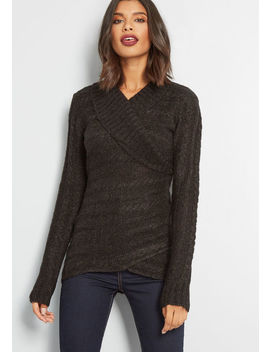 The Layer The Land Long Sleeve Sweater In Pepper by Modcloth