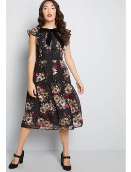 Requested Essence Floral Midi Dress by Modcloth