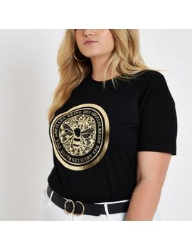 Plus Black Bee Foil Print Fitted T Shirt by River Island