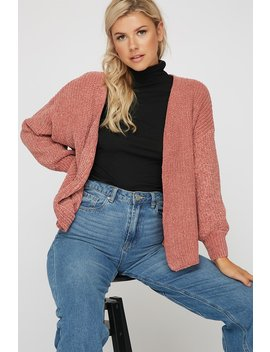 Open Front Chenille Chunky Knit Cardigan by Urban Planet
