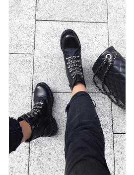 Black Pu Chain Detail Biker Boots   Fischer by Rebellious Fashion