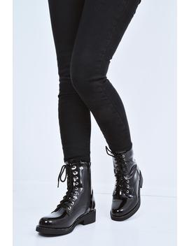 Black Patent Stud Detail Biker Boots   Meia by Rebellious Fashion