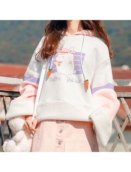 Fairyland   Rabbit Ear Accent Hood Printed Fleece Lined Sweater by Fairyland
