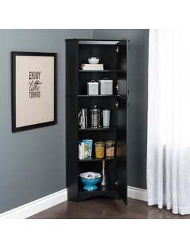 Prepac Elite Tall 2 Door Corner Storage Cabinet, Black by Prepac