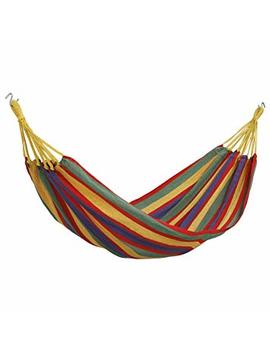 Von Haus Outdoor Portable Cotton Single Brazilian Hammock With Travel Bag   Ideal For Backyard, Porch, Camping, Outdoor And Indoor Use by Von Haus