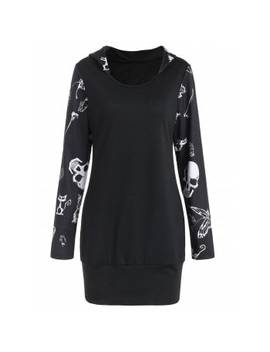"<P>Halloween Skull Print Tunic Hoodie</P><I Class=""Icon Down Js Tap Up Down""></I> by Dress Lily"