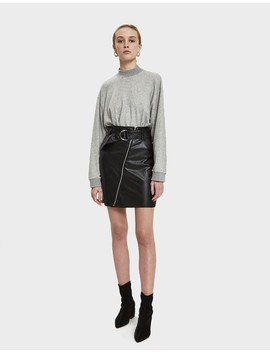Nia Leather Zip Front Skirt by Stelen