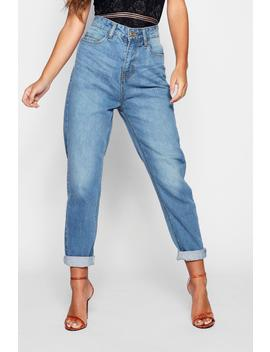 Petite High Rise Mom Jeans by Boohoo