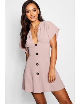 Petite Mock Horn Button Plunge Skater Dress by Boohoo