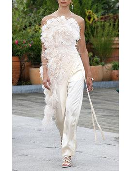 Strapless Feather Embellished Top by Oscar De La Renta