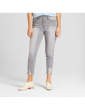 Women's High Rise Destructed Hem Skinny Crop Jeans   Universal Thread™ Gray Wash by Universal Thread™