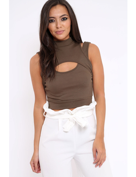 Khaki High Neck Cut Out Ribbed Crop Top   Jessica by Rebellious Fashion