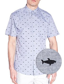 Visive Mens Short Sleeve Casual Novelty Printed Button Down Shirt by Visive