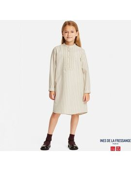 Girls Idlf Cotton Twill Striped Shirt Dress by Uniqlo