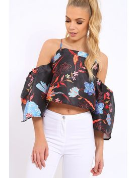 Black Floral Print Bell Sleeve Crop Top   Shantall by Rebellious Fashion
