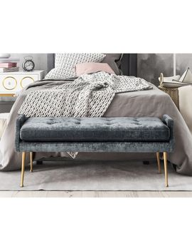 Eileen Slub Grey/Gold Velvet/Stainless Steel Bench by Generic
