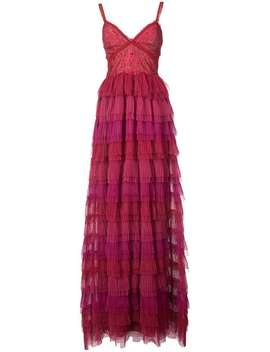 Sleeveless Ruffled Lace Evening Gown by Marchesa Notte