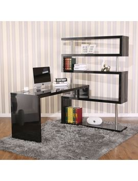 Hom Com Rotating Home Office Corner Desk And Shelf Combo by Generic