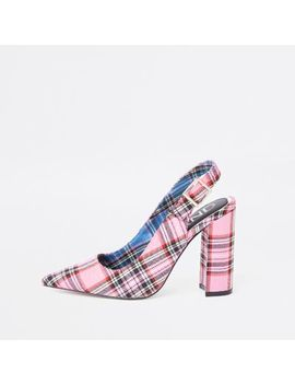 Pink Plaid Block Heel Sling Back Pumps by River Island
