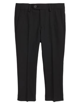 Solid Wool Blend Flat Front Trousers by Tallia