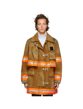 Orange Aged Fireman Coat by Calvin Klein 205 W39 Nyc