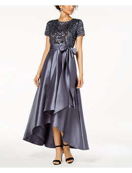 High Low Sequin Embellished Gown by R & M Richards