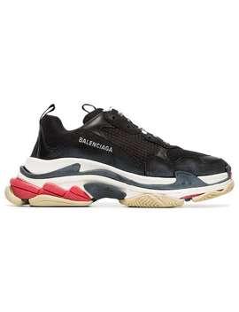 Balenciaga Black Triple S Leather Sneakershome Men Balenciaga Shoes Low Tops by Balenciaga