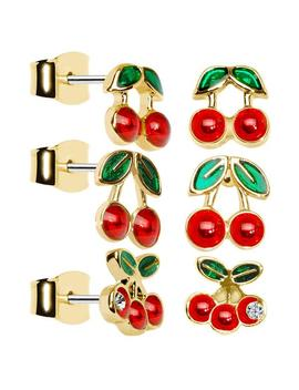 Charming Cherry Stud Earring Set by Body Candy