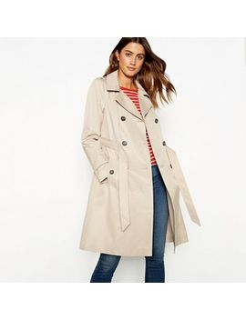 The Collection   Natural Double Breasted Cotton Blend Trench Coat by The Collection