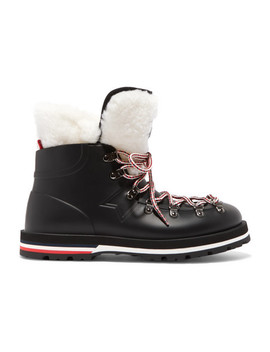 Inaya Shearling Trimmed Rubber Ankle Boots by Moncler