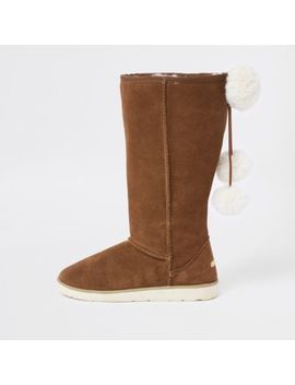 Light Brown Suede Fur Lined Pom Pom Boots by River Island