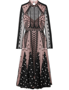 Storm Embroidered Tulle And Printed Georgette Dress by Temperley London