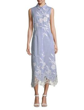 Millie Lace Hem Shirt Dress by T Tahari
