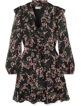 Fleeting Flounce Ruffled Floral Print Chiffon Mini Dress by Zimmermann