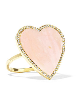 Heart 18 Karat Gold, Opal And Diamond Ring by Jennifer Meyer